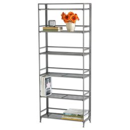 black friday 6shelf iron folding bookcase pewter
