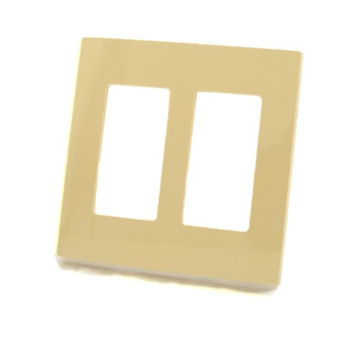 Leviton 80309-SI 2-Gang Decora Plus Wallplate Screwless Snap-On Mount, Ivory
