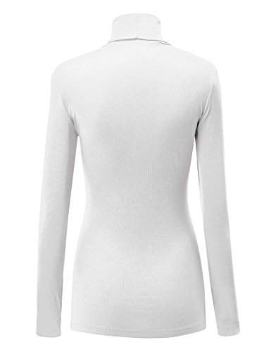 LL WT950 Womens Long Sleeve Turtleneck Top Pullover Sweater S WHITE