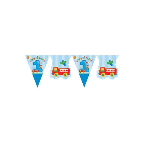 Creative Converting Party Decoration Fun at One Pennant Flag Banner, 1st Birthday, 12-Feet, Blue - 1