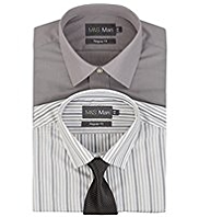 2 Pack 2in Longer Easy Care Plain & Striped Shirts with Tie