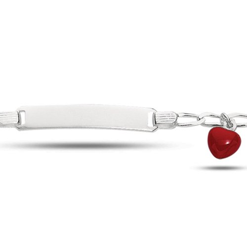 Baby Id Curb Link Bracelet With Red Heart In Sterling Silver (6 Inches)