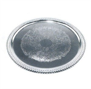 Winco CMT-1014 0.5mm Oval Tray, 14-Inch by 10-Inch, Chrome