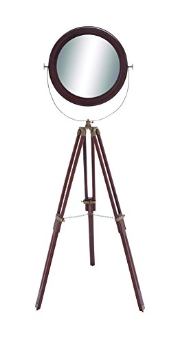 Wood Round Floor Mirror with Foldable Tripod Legs