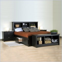 Prepac Sonoma Black Double,Full Wood Platform Storage Bed 3 Piece Bedroom Set