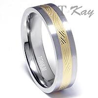 Titanium Golden Ip Inlay Wedding Band Ring
