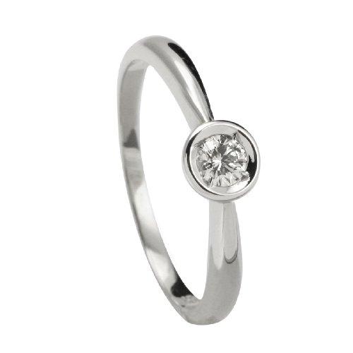 Bella Donna Damen Diamantring 585/000 Weiß-Gold 1 Brillant 0,12ct. Weiß Piqué