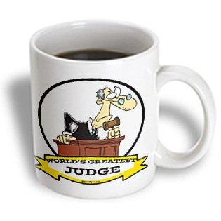 3Drose Funny Worlds Greatest Judge Occupation Job Cartoon Ceramic Mug, 15-Ounce