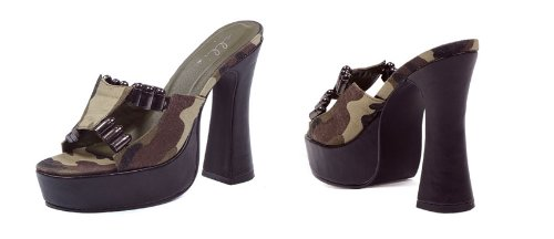 E-557-ARMY, 5 Inch Heel with Camo fabric and faux bullet d cor 11 Camel