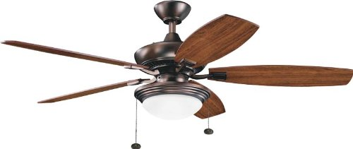 Kichler 300016OBB Canfield Select 52IN 5-Blade Energy Star Ceiling Fan, Oil Brushed Bronze Finish with Cased Opal Glass Shade