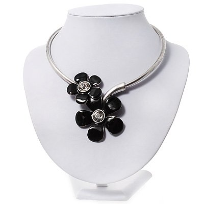 Black Enamel Floral Choker Necklace In Silver Plated Metal