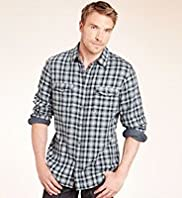XXXL Blue Harbour Pure Cotton Ombre Checked Shirt