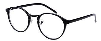 Unisex Round Frame Party Fancy Dress Big Nerd Eyeglasses Glasses (Black)