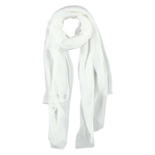 Seta Chiffon Sciarpa Passigatti sciarpa di seta sciarpa estiva talla £nica - bianco