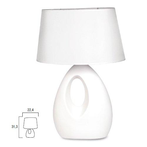 Lampada da tavolo moderno lume in ceramica bianco comodino