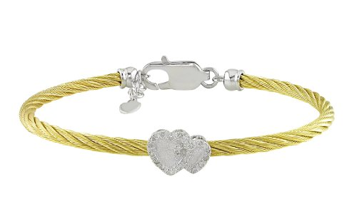 Sterling Silver 0.06ct TDW Heart Diamond Bracelet (J-K, I3) (7in)