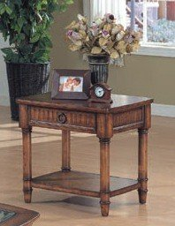 Cheap Classic Antique Brown Finish Wood Occasional End Side Table w/Drawer (VF_700347)