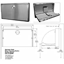 "Bobrick KB110-SSWM Koala Kare Horizontal Wall Mounted Baby Changing Station, Stainless Steel Finish, 35-1/4"" Width x 20"" Height"