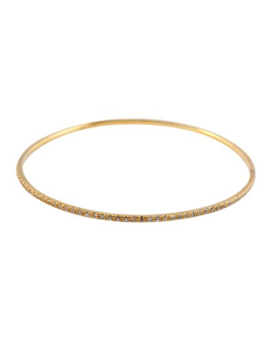 Lizel's Sterling Bangle Gold Plated Slip on w/ Cubic Zirconia Channel Set on Slender Circle - Incl. ClassicDiamondHouse Free Gift Box & Cleaning Cloth