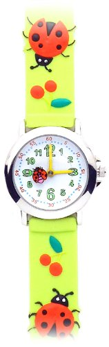 Ladybugs Love Cherries (Neon Green) Gone Bananas Girls' Watch W/Animated Ladybug - Waterproof - Wear In Bath & Pool