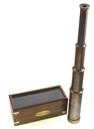 "Captains' Brass Telescope With Antique Finish, 15"" Fully Extended, With Hardw..."
