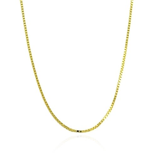 Bling Jewelry Gold Vermeil Unisex Box Link Chain Necklace 019 Gauge - 16 in
