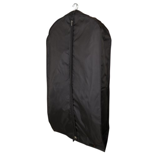 "Hangerworld Black Soft Feel Breathable Nylon Suit Cover Bag - 44"" with 6"" Gusset - Holds Several Garments"
