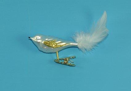 Vogel mit Federschwanz weiß matt
