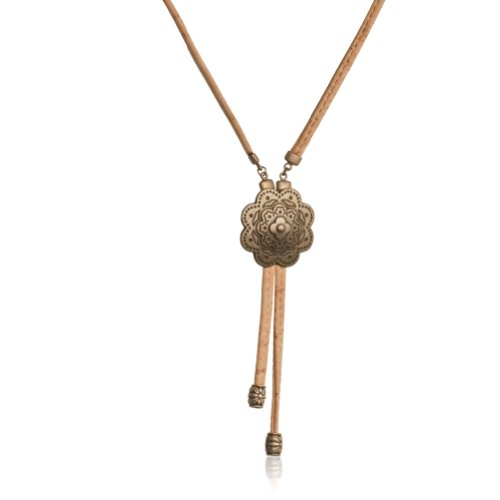 Corkor, Cork Long Natural Necklace With Golden Flower, Eco-Friendly