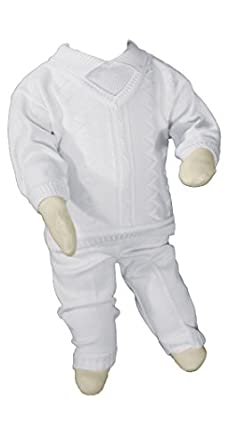 Boys 100% Cotton Knit Two Piece White Christening Baptism Outfit, 12