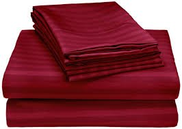 "Srp Linen! All New 800 Counts 4-Piece Italian Finish Queen Burgundy Stripe Soft Sheet Set 16""Deep Pocket 100% Cotton front-575617"