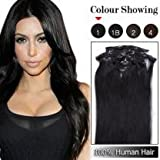 20inch 7pcs Straight Remy Clip in Real Human Hair Extensions #1 Jet Black