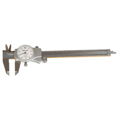 Mitutoyo 505-677 Dial Calipers, Inch, White Face, for Inside, Outside, Depth and Step Measurements, Stainless Steel, 0