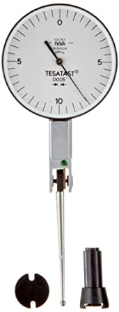"Brown & Sharpe TESA 18.20009 Tesatast Dial Test Indicator, Top Mounted, Extra Long Contact Point, M1.4x0.3 Thread, 0.0787"" Stem Dia., White Dial, 0-10-0 Reading, 1.5"" Dial Dia., 0-0.02"" Range, 0.0005"" Graduation, +/-0.0005"" Accuracy"