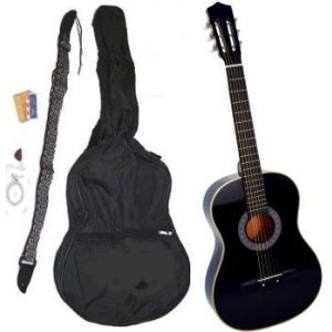 38 Inch Ebony Student Acoustic Guitar Starter Package BLACK, Guitar, Gig Bag, Strap, Pitch Pipe & DirectlyCheap(TM) Translucent Blue Medium Guitar Pick
