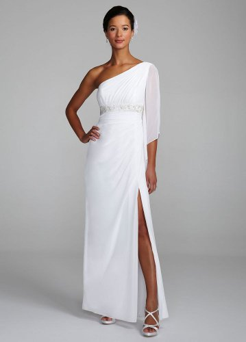 David&#8217;s Bridal Wedding Dress: One Shoulder Beaded Empire Waist Gown Style 875224