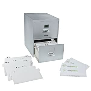 The nifty gifter business card file cabinet 12 this mini file cabinet fits all of your business cards in it and has dividers to alphabetize it holds up to 800 cards and has a little digital clock on colourmoves