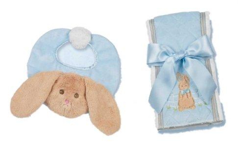 Bearington Bears Bunny Tails Baby Bib And Burp Cloth Set