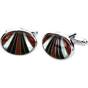 Sterling Silver Genuine Carnelian Mother Of Pearl and Onyx Cuff Links 13x18mm - JewelryWeb