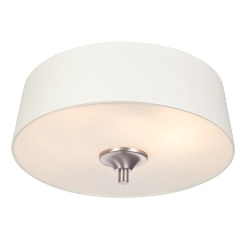 Westinghouse 6225800 Parker Mews One-Light Interior Flush-Mount Ceiling Fixture, Brushed Nickel Finish With White Linen Fabric Shade