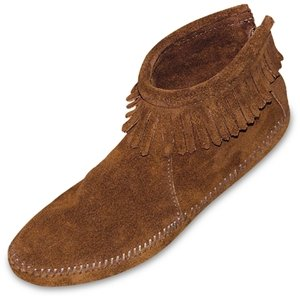 Minnetonka Women's Back Zipper Boot Softsole Brown Suede Size 6.5