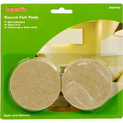 Round Laminate and Wood Floor Furniture Felt Guard Pads Pack of 4 75mm