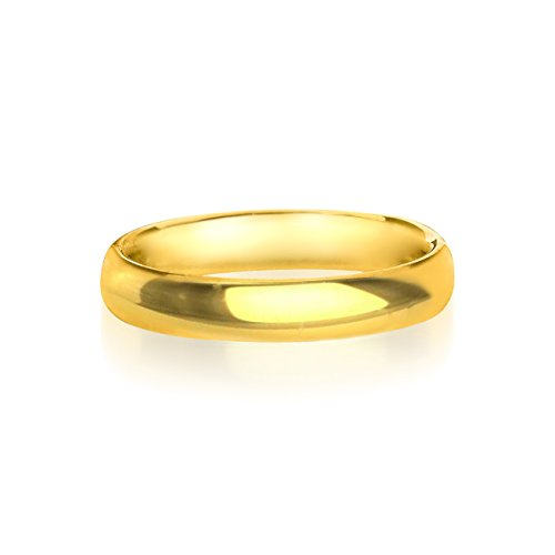 14K Yellow Gold 4 Mm High Polish Comfort Fit Wedding Band Ring, Size 7