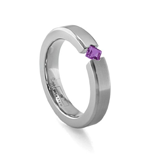 Women's Grey Titanium Princess-Cut Amethyst Ring , Size 8.5