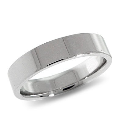 14K White Gold, Flat Comfort Fit Wedding Band 5MM (sz 15)