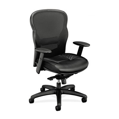 VL701 High-Back Swivel/Tilt Work Chair, Black Mesh/Leather