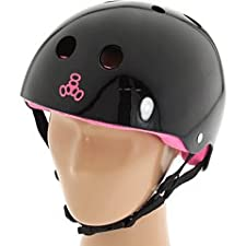 Triple Eight Brainsaver Rubber Helmet with Sweatsaver Liner (Black, Large)