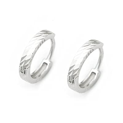 925 Sterling Silver Polish Finishing Diamond-Cut Hoop Earrings, Fashion Jewellery Gift