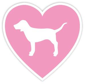 "Amazon.com: VICTORIA'S SECRET PINK HEART DOG LOVE 4""x4"" Sticker Decal"