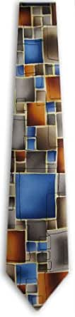 JG-XL-43 - Orange - Blue - Brown - Gray - Mens X-Long Jerry Garcia Necktie